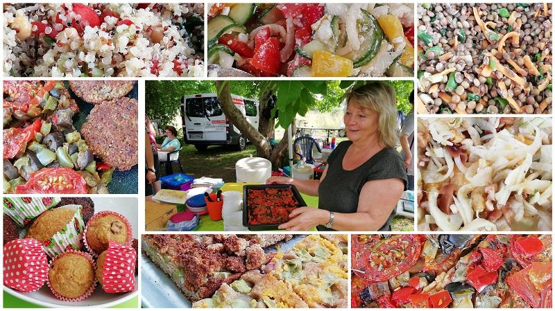 Essen vom Gesundheitstreff Mainz Wiesbaden auf dem Blütenfest im Naturschaugarten Lindenmühle