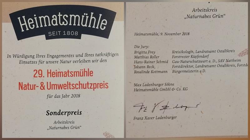 29. Heimatsmühle Natur- & Umweltschutzpreis 2018
